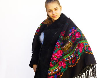 Chale russe Russian shawl vintage style Floral square scarf