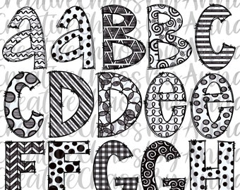 Black and White Doodle Letters Alphabet Bundle PNG | Hand Drawn Alphabet | Alpha Pack Digital Download | Sublimation Blanks | Printable