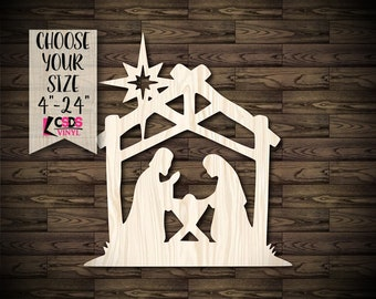 Choose from 21 Sizes Christmas Wood Cut Out Baby Jesus Nativity Scene