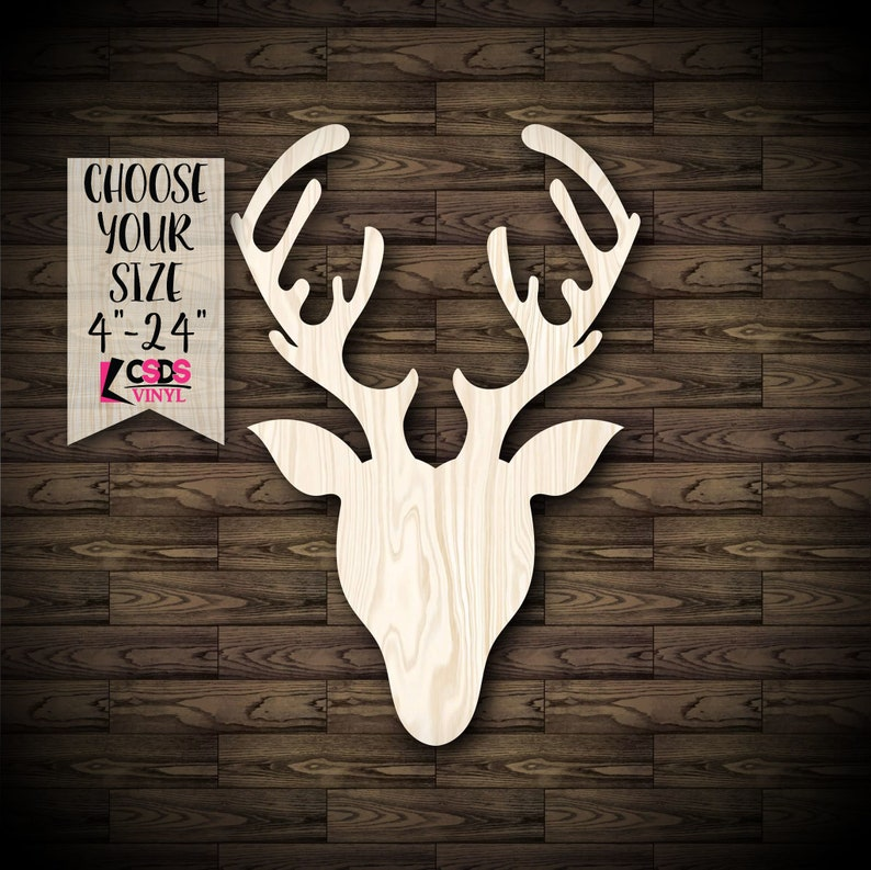 Deer Head Shape Wood Cut Out Choose from 21 Sizes