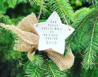 Personalised Mr & Mrs 1st Christmas Star, 1st Christmas Star, Personalised Christmas Star