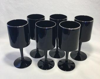 "LENOX Crystal VENTURE BLACK Wine Goblet Platinum Trim 6-3//4/"""