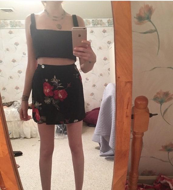 90s grunge romantic rose skort mini