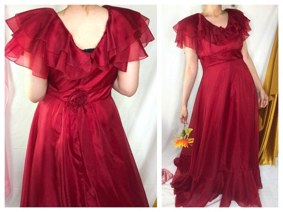 Vintage 70s Wine Red Ruffle Gown / Size 10