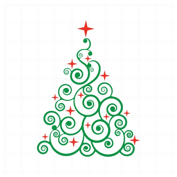 Christmas Tree Svg Swirly Tree With Stars Svg File For Etsy