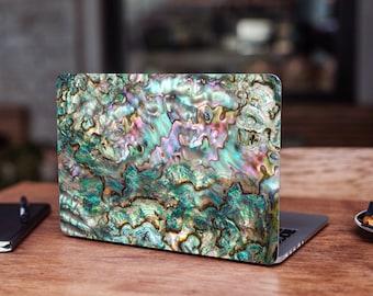 Pearl Shell Laptop Skin Abalone Decals Sticker Full Coverage Green Seashell Laptop Decal Universal Laptop Chromebook Samsung Razer Microsoft