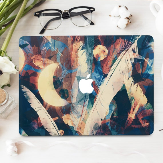 Moon and Stars Macbook Skins 12 Pro 13 Touch Bar 2017 Decal Skins MacBook Air 13 Pro 16 Retina 15 Pattern Feathers Vinyl Decal Stickers