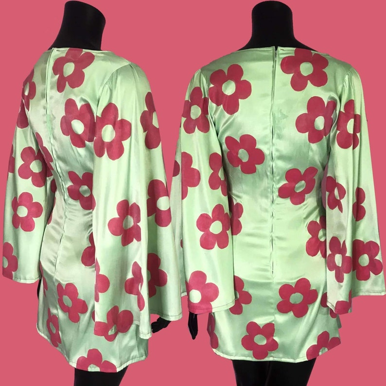 Size S Handmade dress with bell sleeves and hand painted daisies
