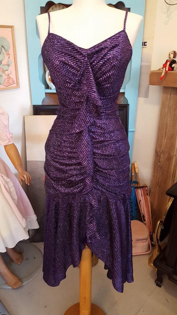 80s does 50s purple lurex Mermaid dress