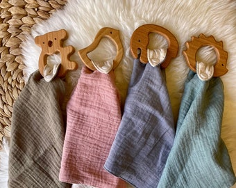 BOHO Baby Pacifier Muslin Cotton Blanket with Fringe and Wooden Heart Teether