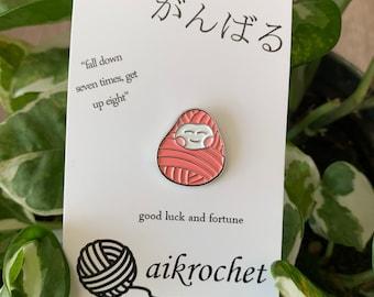 Japanese Yarn Daruma Soft Enamel Pin