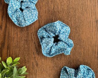 Blue Sakura Chirimen Kimono Scrunchie
