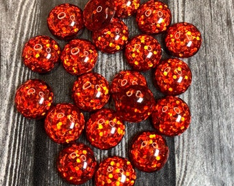 Red Green Glitter Ombre Faceted Flatback Cabochon 12mm