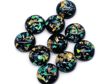 50-100 Pieces 10-20 8mm Foil Cabochons Black with Gold and Green Metal Flakes Ships IMMEDIATELY from Arizona C794