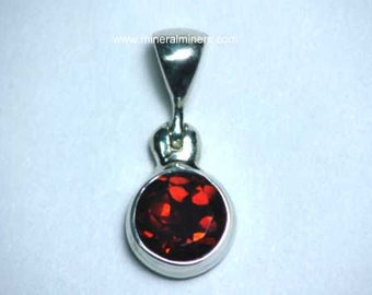 Red Garnet Gem Pendant, 7mm Round Red Garnet Gem Necklace, Round Garnet Gemstone, Faceted Red Garnet, Red Faceted Garnet in Sterling Silver