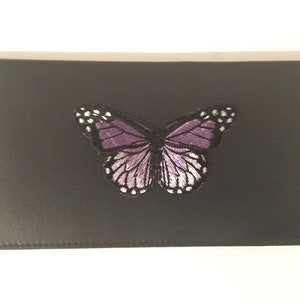 Purple Rose Design Checkbook Cover  Holder Roses