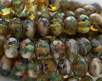 90143640-170 6x4mm Imperial Jasper Gemstone Grade AA Green Rondelle Loose Beads 16 inch Full Strand