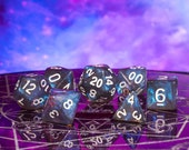 Midnight Essence - Aurora Borealis RPG DND 7-Piece Polyhedral Dice Set - Hand Inspected with Dice Bag