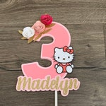 Hello Kitty Cake Topper. Birthday Sign. Personalized wIth Name. Paper Flowers.