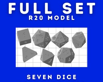 Full Base Set of Seven 3d Printed Polyhedral Master Dice - R20 Model with Traditional Dice Shapes - Sharp or Clipped D4