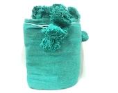 Cotton Blanket - Moroccan Blanket - Pom Pom Blanket - Handwoven Blue Blanket - Soft Pompom Blanket - Free shipping - Bedroom Decoration