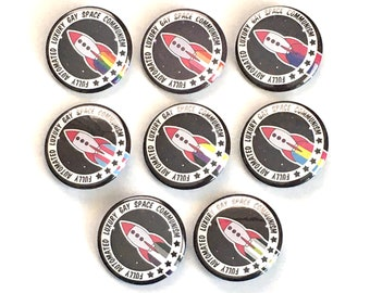 Fully Automated Luxury Gay Space Communism pin button badges / LGBT Pride / Leftist Pins