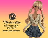 Smart Doll PATTERN twisted front crop top. Step by Step tutorial. Doll clothes patterns pdf. Smart Doll Clothes