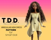 Irregular Hem Dress PATTERN for Smart Doll. Step by Step tutorial. Two versions of this dress one with longer sides and one with shorter.