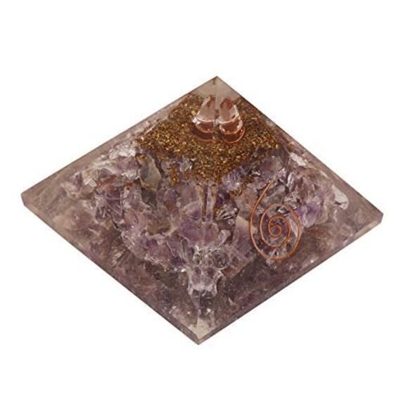70-75mm Extra Large Amethyst Rose Orgonite Orgone  Gemstone Pyramid x-large