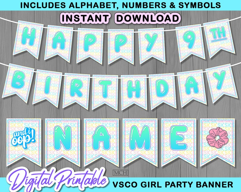 VscoGirl Birthday Vsco Party Backdrop Decoration VSCO Girl Party Banner Instant Download DIY sksksk Digital Printable Decorations