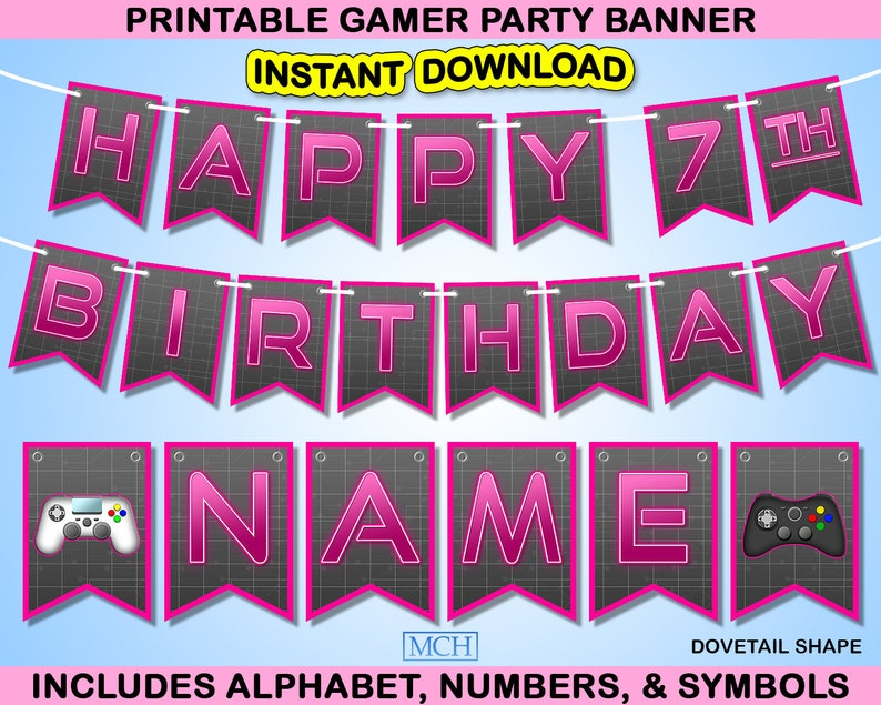 Gamer Party Banner Video Game Truck Party Backdrop Birthday Party Decoration Instant Download DIY PINK Digital Printable Decorations