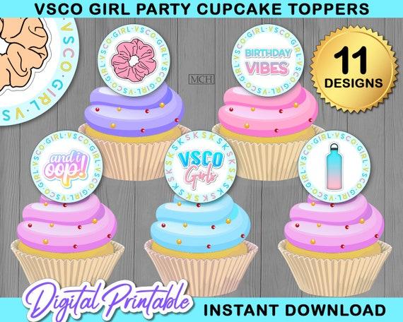 Super Instant Download Girl Cupcake Toppers Happy Birthday Centerpiece Funny Birthday Cards Online Inifodamsfinfo