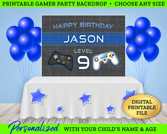 Happy birthday Vid Game Banner Personalized Party Decoration Backdrop