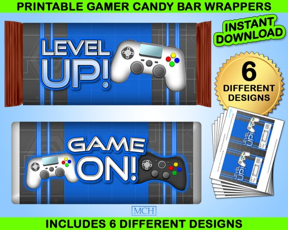 Instant Download DIY RED Gamer Party Rice Krispies Treat .78 oz Labels /& Wrap Digital Printable Video Game Party Gaming Birthday Favor