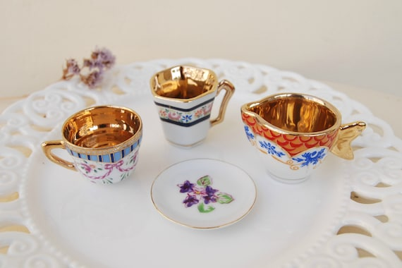 2 Dollhouse Miniature Unfinished Metal 1//2 Scale Large Coffe Cup /& Saucer
