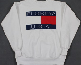 9af45d088ef Vintage Tommy Hilfiger Florida Bootleg Spell Out Colorblock Big Flag  Sweatshirt White Mens Medium