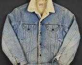 Levi 39 s VTG USA Distressed Sherpa Lined Denim Trucker Jacket Mens 42L 80 39 s-90 39 s Vintage Retro Rare Jacket