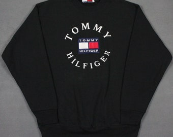 19793e8ee66 Vintage 90's Tommy Hilfiger Spell Out Colorblock Big Flag Sweatshirt Black  Mens Large Bootleg
