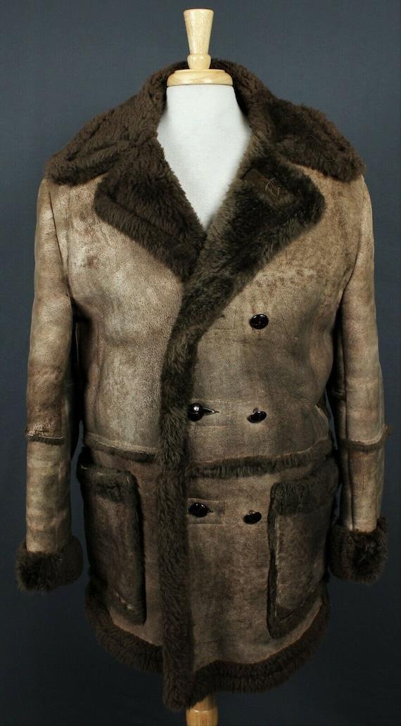 Vintage 70's Leather Sheepskin Shearling Marlboro