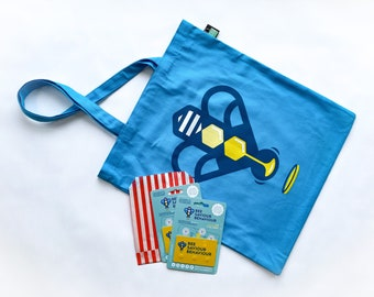 Two Bee Saviour Cards and a heavy cotton tote bag with pocket