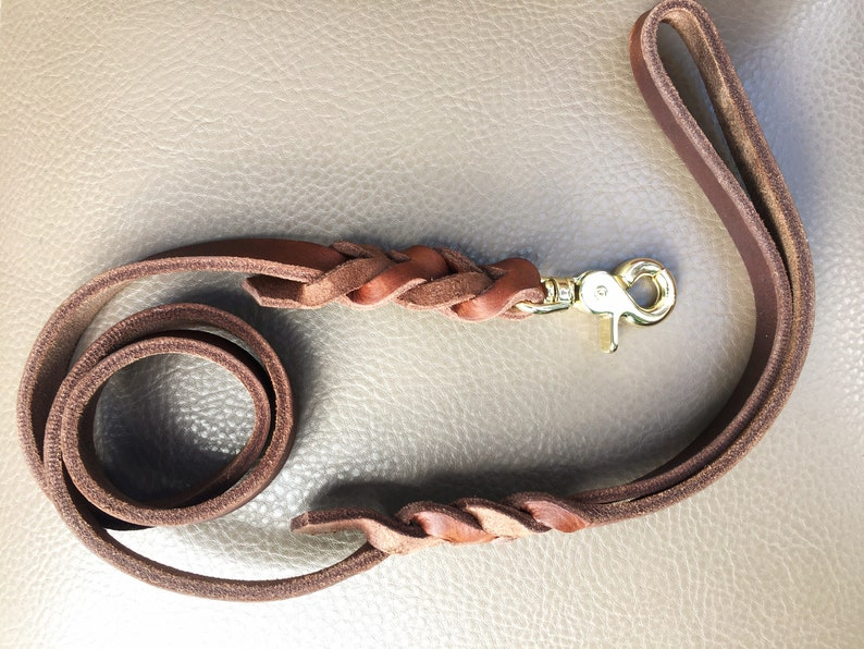 Premium set leather leash and pull stop collar with grease leather adapter and rigging
