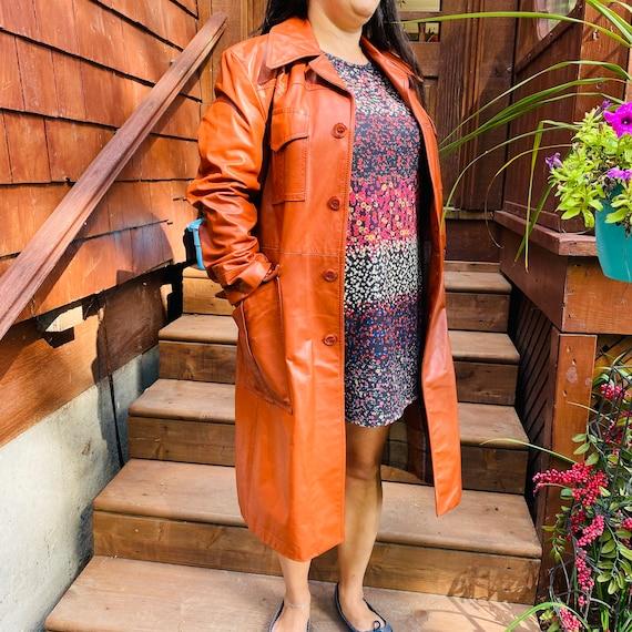 vintage long leather coat cognac color