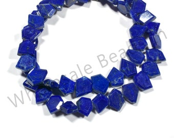16 Inches LAPIS LAZULI FACETED Geometrical Crown Cut Flat Natural Gemstone Briolette Center Drill Beads Line Beads For Jewelry Gemmore