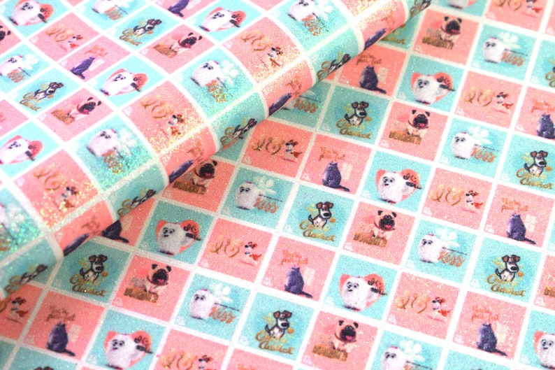 10101 Glittery Shimmer Secret Life of Pets Printed Sheet Faux Canvas Leather Fabric sheet bow making etc