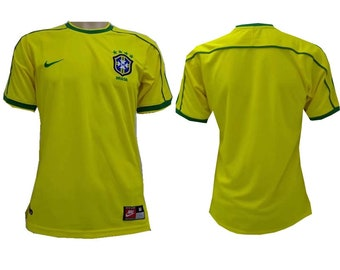d40e3f69e 1998 World Cup Brazil Soccer Jersey Retro Home Custome Name And Number