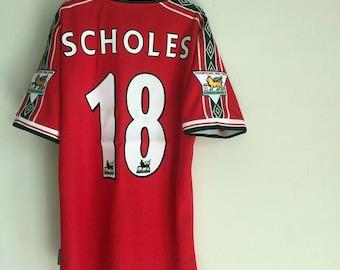 d4d53b12418 1998-1999 Manchester United David Paul Scholes Jersey Home