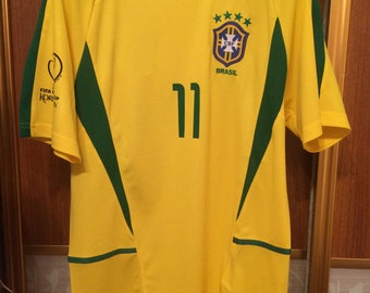 c44efad3e10 2002 World Cup Brazil Ronaldinho Soccer Jersey Retro Home Yellow