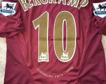 184a0fefa3d 2005 Arsenal Dennis Bergkamp Soccer Jersey Retro Home