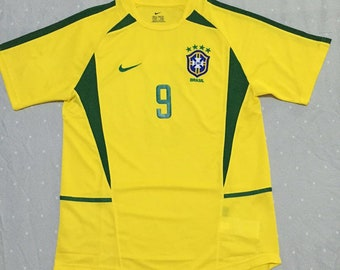 64b1d9af561 2002 World Cup Brazil Ronaldo Soccer Jersey Retro Home Yellow