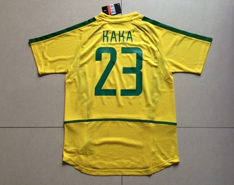 f95c67d080d 2002 World Cup Brazil KAKA Soccer Jersey Retro Home Yellow